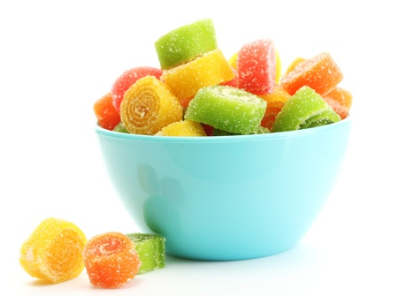 colorful jelly candies in bowl isolated on white Reklamní fotografie