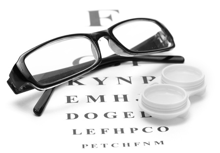 eyes contact: glasses and contact lenses in containers, on snellen eye chart background