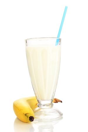 Banana milk shake isolated on white photo
