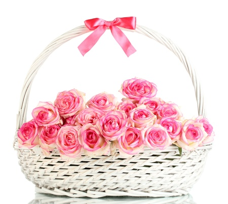 beautiful bouquet of pink roses in basket, isolated on white Stock Photo - 15579969