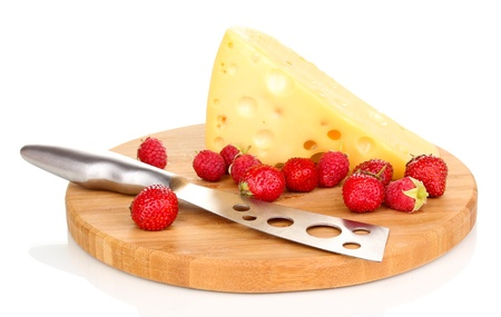 tasty cheese and berries on wooden board isolated on white Stock Photo - 15582429