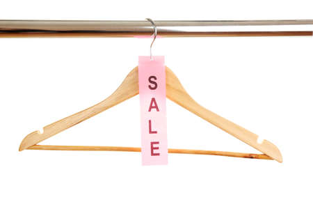 wooden clothes hanger as sale symbol isolated on white  Stock Photo - 15642675
