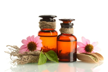 medicine bottles with purple echinacea , isolated on white Stock Photo - 15642937