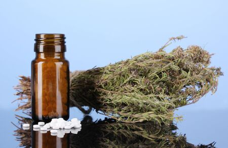 cures: bottle with pills and herbs on blue background. concept of homeopathy Stock Photo