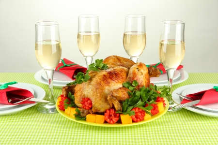 banquet table with roast chicken on white background close-up. Thanksgiving Day photo