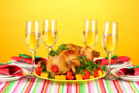 banquet table with roast chicken on orange background close-up. Thanksgiving Day Stock Photo - 15660382