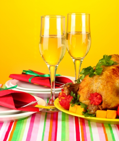 banquet table with roast chicken on orange background close-up. Thanksgiving Day Stock Photo - 15643572