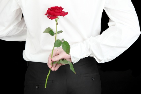 offerings: man holding rose close-up