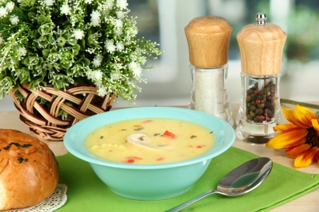 Fragrant soup in blue plate on table on window background close-up Stock Photo - 15661815