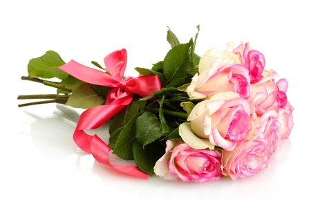 anniversary flower: beautiful bouquet of pink roses isolated on white