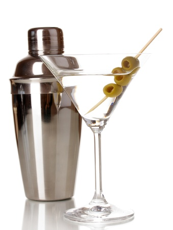 Martini glass with olives and shaker isolated on white photo