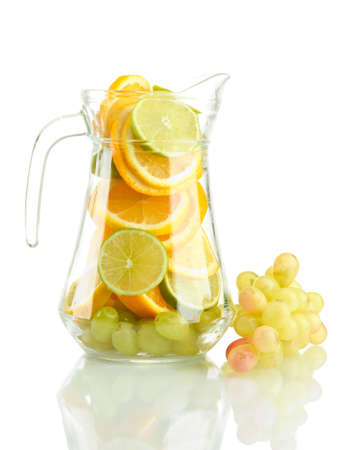 transparent jar with citrus fruits and grape, isolated on white Stock Photo - 15662158