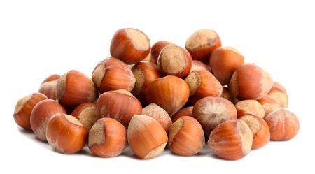 tasty hazelnuts, isolated on white