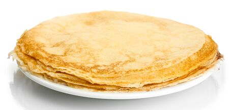 maslen: Delicious pancakes on plate isolated on white