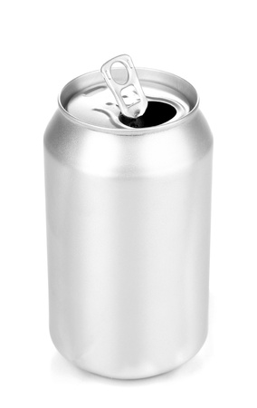 Open aluminum can isolated on white  Stock Photo