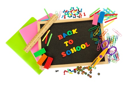 Small chalkboard with school supplies on white background. Back to School Stock Photo - 15725256