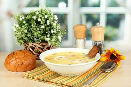Fragrant soup in white plate on table on window background close-up Stock Photo - 15729507