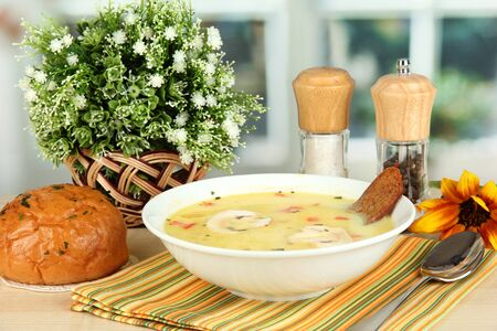 Fragrant soup in white plate on table on window background close-up Stock Photo - 15732217
