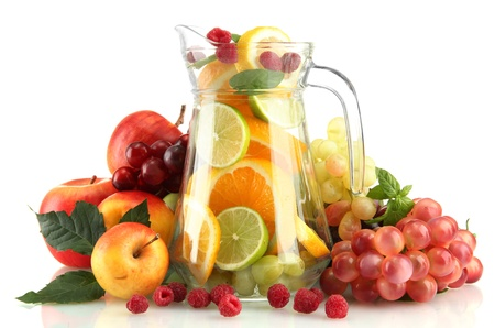transparent jar with exotic  fruits, isolated on white Stock Photo - 15725252