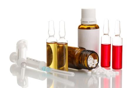 medical ampules, bottles and syringes, isolated on white Stock Photo - 15724530