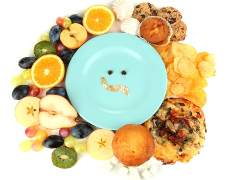 kiss biscuits: Blue plate surrounded by useful and harmful food isolated on white