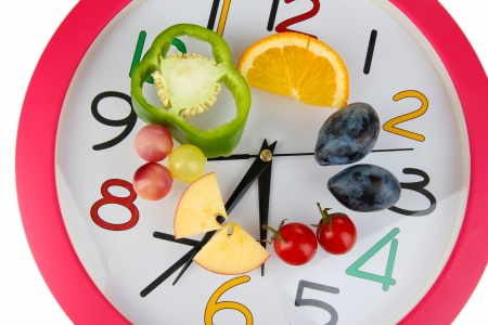 food fight: Dietary food on time isolated on white