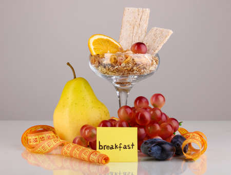 microelements: Dietary foods for breakfast isolated on white