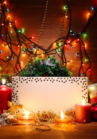 christmas beads: beautiful Christmas composition on wooden background Stock Photo