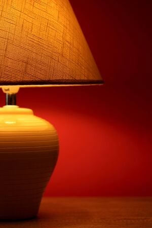 table lamp on wallpaper background  Stock Photo - 15729036