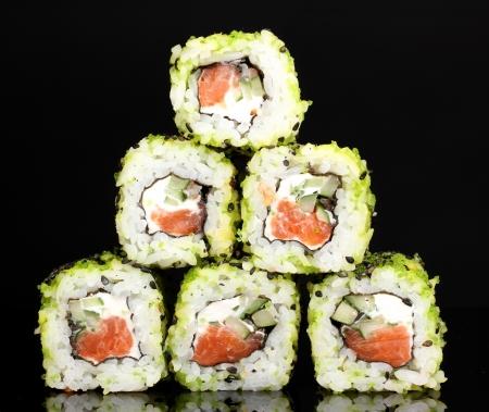 philadelphia roll: Tasty rolls isolated on black