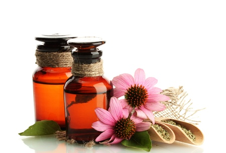 medicine bottles with purple echinacea , isolated on white Stock Photo - 15745822