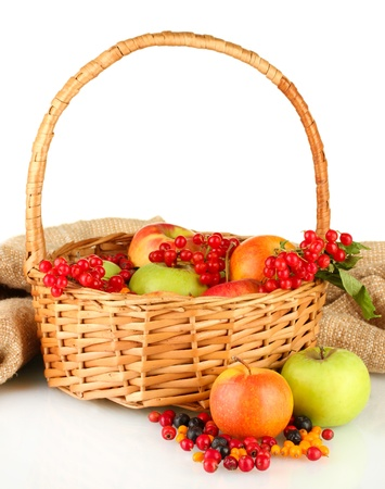 crop of berries and fruits in a basket on white background close-up photo