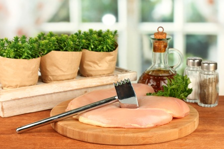 composition of raw meat, vegetables and spices on wooden table close-up Stock Photo - 15747948