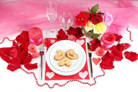 Table setting in honor of Valentines Day close-up photo