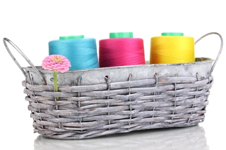 wicker work: Bright threads in basket isolated on white