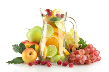 transparent jar with exotic  fruits, isolated on white Stock Photo - 15746991