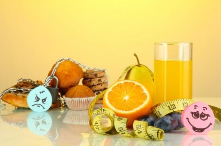 microelements: Useful and harmful food on yellow background