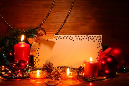 beautiful Christmas composition on wooden background photo