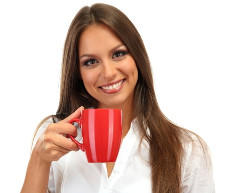 coffee mug: beautiful young woman with cup of tea, isolated on white Stock Photo