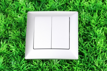 Modern light switch on green grass photo