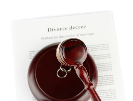 decree: Divorce decree and wooden gavel on white background Stock Photo