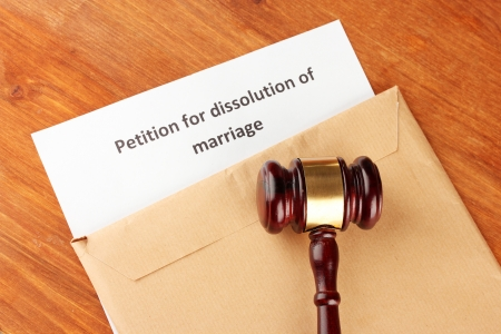 divorce court: Divorce decree and envelope on wooden background