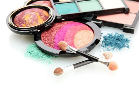 bright eye shadows and rouge with brushes, isolated on white Stock Photo - 15749191