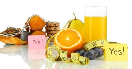 harmful: Useful and harmful food isolated on white Stock Photo