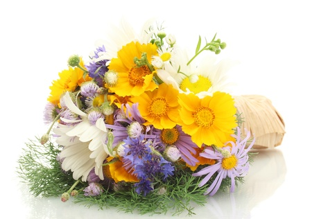 wildflowers: beautiful bouquet of bright  wildflowers, isolated on white Stock Photo
