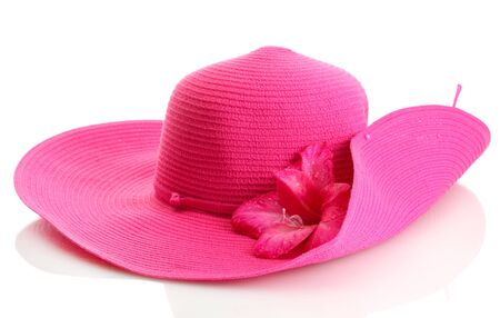 Beautiful summer woman hat with flower isolated on white Stock Photo - 15781781