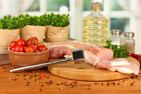 composition of raw meat, vegetables and spices on wooden table close-up Stock Photo - 15782539