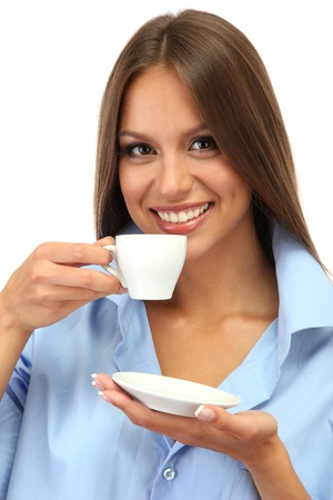 beautiful young woman with cup of coffee, isolated on white photo