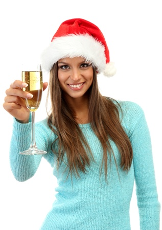 beautiful young woman with glass of champagne, isolated on white photo