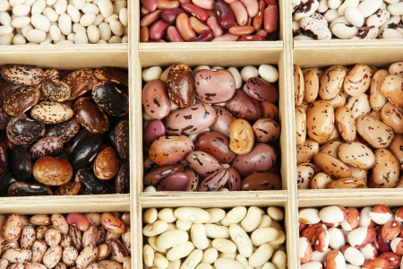 Diverse beans in wooden box sections close-up Stock Photo - 15812942